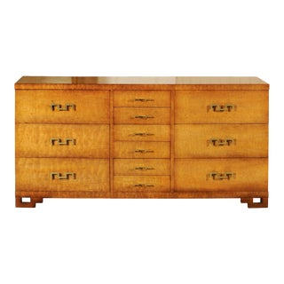 Exquisite Greek Key Chest in African Mahogany by John Stuart, circa 1960 For Sale