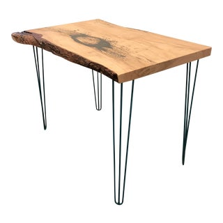 Live Edge Counter Height Desk With Teal Hairpin Legs For Sale