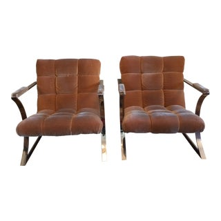 Pair of Vintage Tufted Milo Baughman Z Armchairs With T Shaped Backs For Sale