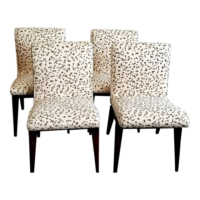 Hollywood at Home Double Dotty Upholstered Dining Chairs- Set of 4 For Sale
