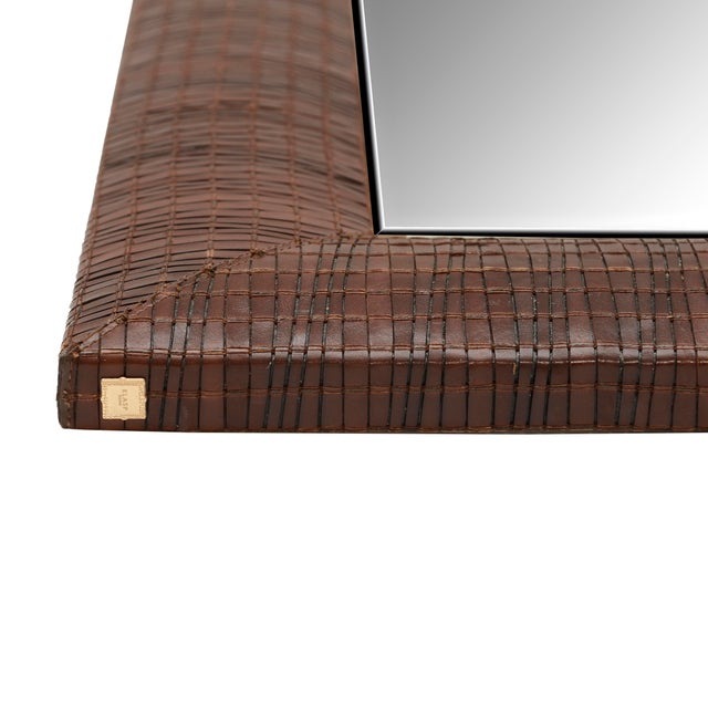 KLASP Home Laura Weave Leather Mirror For Sale - Image 4 of 6