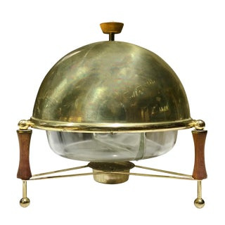 1950s Mid Century Modern Pyrex Dome Top Chafing Dish For Sale
