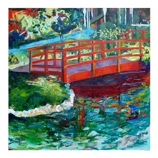Impressionist Painting, Japanese Bridge on the Lily Pond For Sale