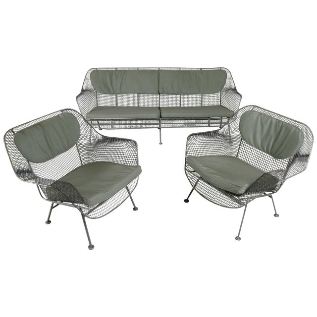 1950s Sculptura Sofa and Pair of Lounge Chairs by Russell Woodard For Sale