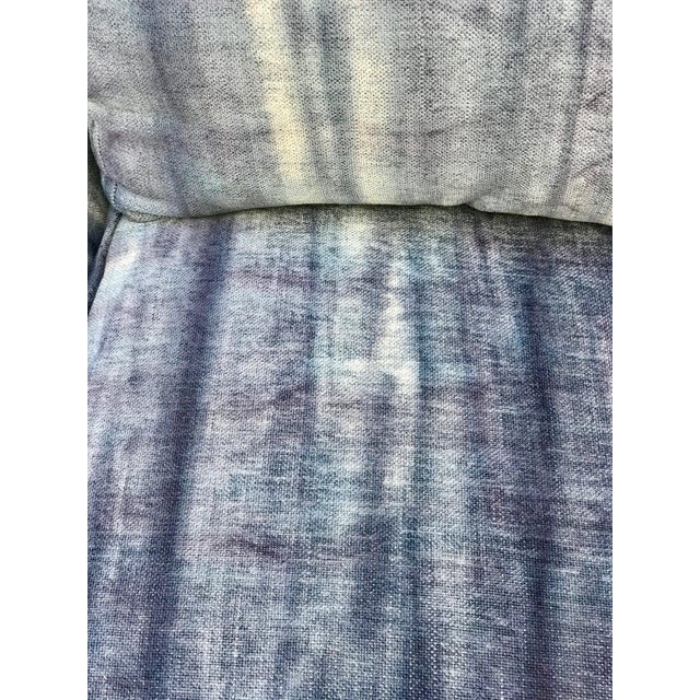 Early 20th Century Antique French Dip-Dyed Ombre Indigo Fabric Settee For Sale - Image 9 of 10
