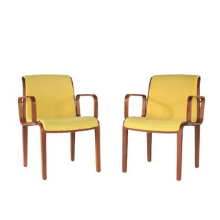 1970s Knoll Yellow Bentwood Armchairs - a Pair For Sale