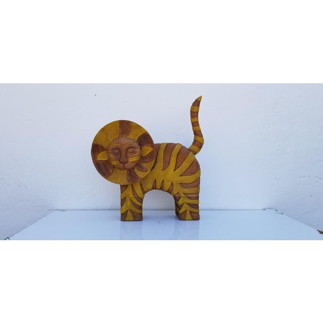 Guido Gambone Style Sun Lion Sculpture For Sale - Image 9 of 11