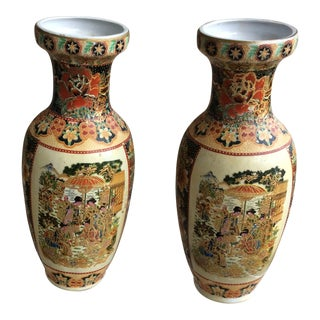 Vintage Satsuma Handpainted Vases - a Pair For Sale