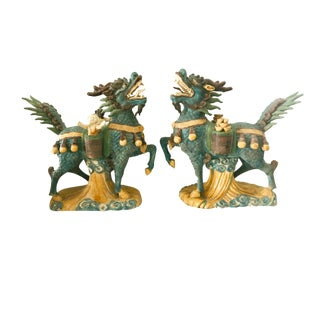 """Lg Fortune Foo Dogs 14.5 """" H by 17"""" W For Sale"""