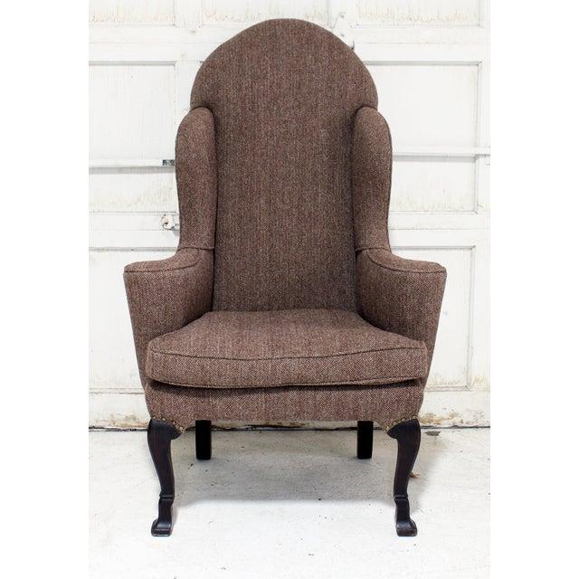Vintage Wing Chair Reupholstered in Vintage Harris Tweed Fabric For Sale - Image 10 of 11