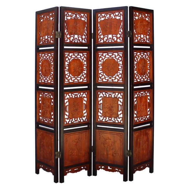 Wood Chinese Scenery Carving 2 Brown Tone Wood Panel Floor Screen Display Shelf For Sale - Image 7 of 10