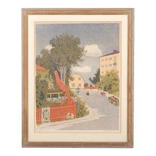 Circa 1940's Lithograph Cityscape by Oskar Bergman For Sale
