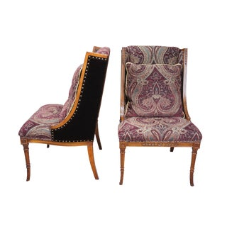 2 Henredon Upholstery Collection Louis XV Chairs Purple Paisley Velvet H9661 For Sale