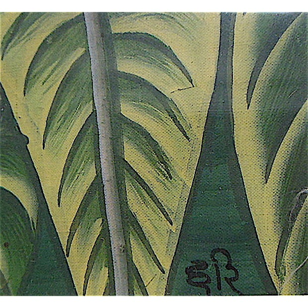Large Vintage Signed Asian Painting-Tropical Scene For Sale In Cincinnati - Image 6 of 8