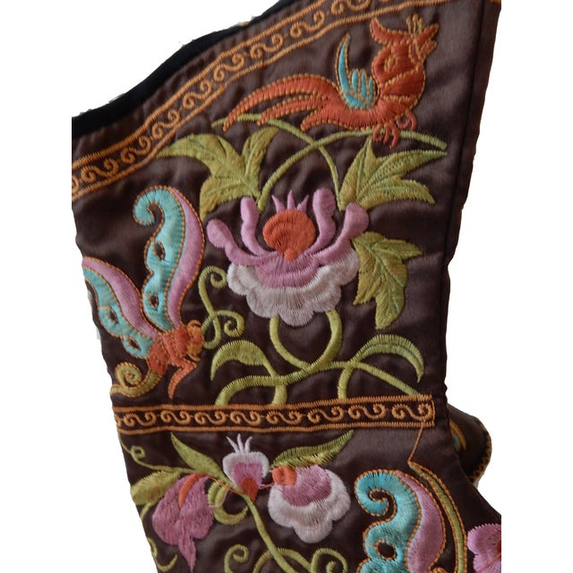Will Brown Chinese Embroidered Baby Boots For Sale - Image 4 of 7