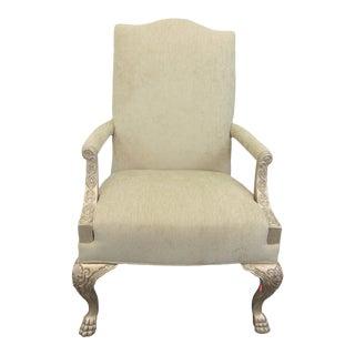 Bernhardt Georgian Style Silver Gilt Library Chair For Sale