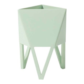 Small Deca Planter in Mint Green by Force/Collide, Indoor/Outdoor Steel For Sale