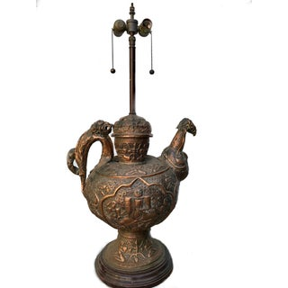 Antique Tibetan Repousse Copper Wine Vessel Lamp With Inlaid Turquoise For Sale