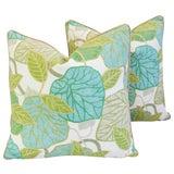 Image of Custom Tailored Atrium Foliage Feather/Down Linen & Velvet Pillows - Pair For Sale