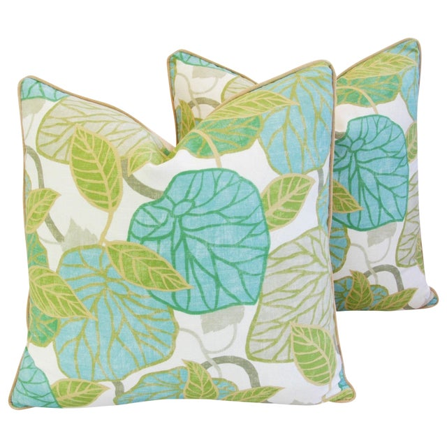 Custom Tailored Atrium Foliage Feather/Down Linen & Velvet Pillows - Pair For Sale