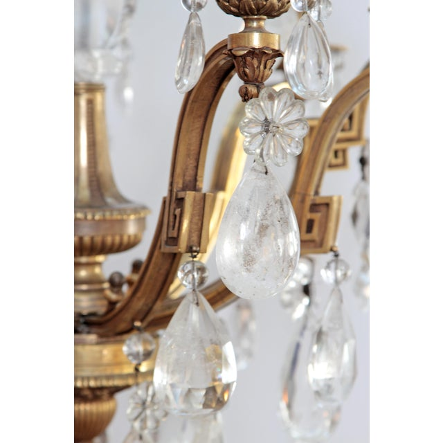Gold Louis XV Style Chandelier with Rock Crystals from Nesle Inc. New York For Sale - Image 8 of 10