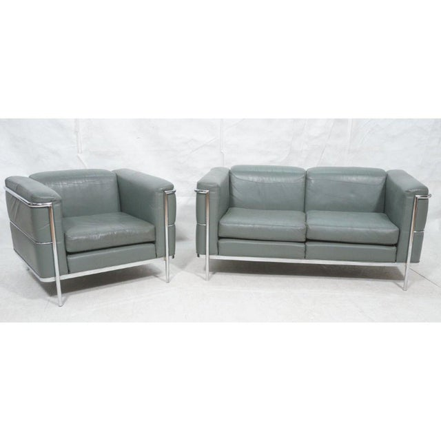 Mid-Century Modern Chrome and Teal Leather Love Seat and Club Chair - 2 Pieces For Sale - Image 9 of 9