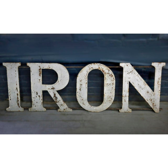"Industrial 20th Century Industrial ""IRON"" Letters Sign For Sale - Image 3 of 4"