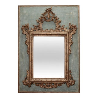19th Century Giltwood and Gesso Italian Mirror On Painted Wood Panel