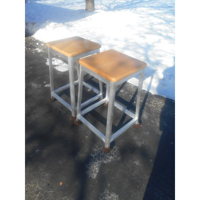 Brushed Aluminum Bar Stools - A Pair For Sale - Image 6 of 6