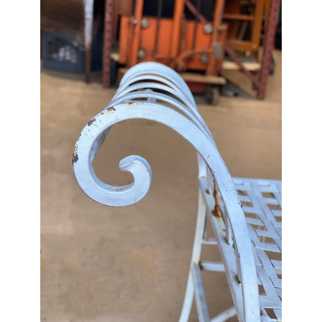 Metal Vintage Victorian White Wrought Iron Sculpted Patio Garden Bench For Sale - Image 7 of 12