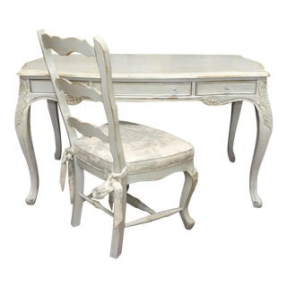 French Country Painted and Distressed Desk With Chair - 2 Pieces For Sale