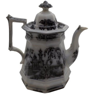 Mid 19th Century Antique Ironstone Coffee Pot For Sale