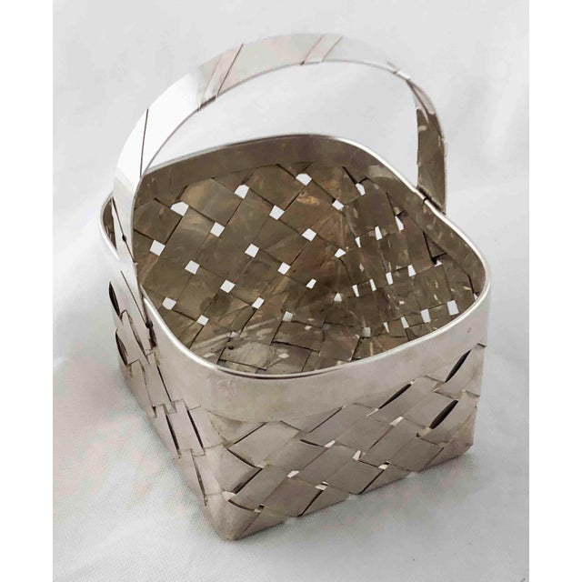 Traditional Vintage Sterling Silver Woven Basket With Handle For Sale - Image 3 of 9