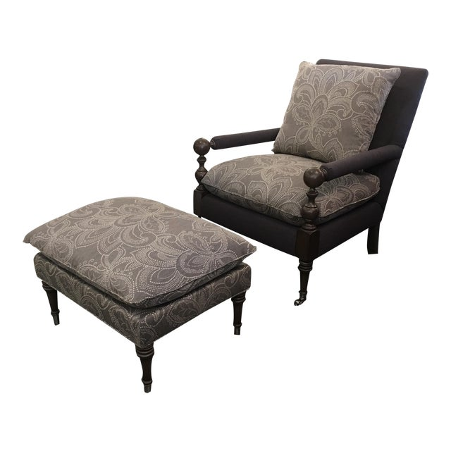 New Cr Laine Bradstreet Chair & Ottoman Set - Image 1 of 11