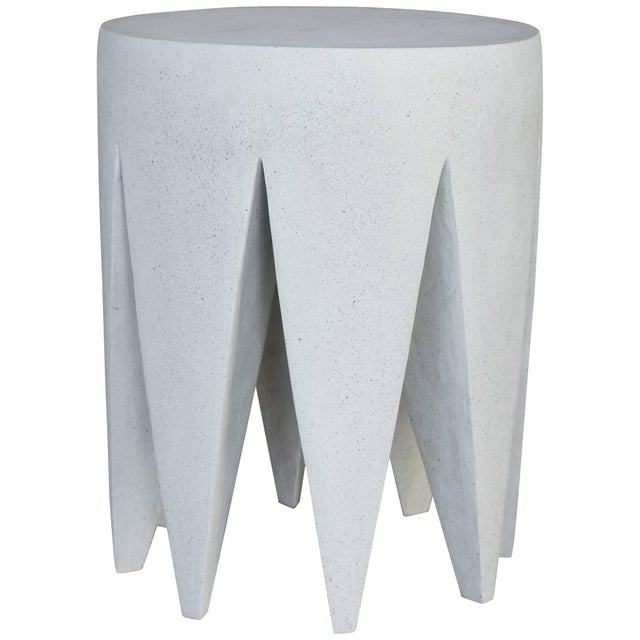 Cast Resin 'King Me' Side Table, White Stone Finish by Zachary A. Design For Sale In Chicago - Image 6 of 6