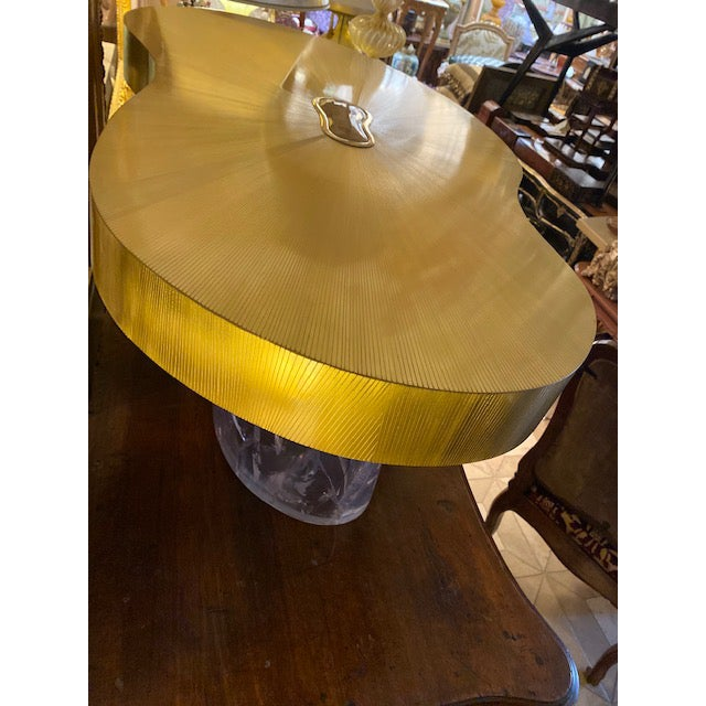 1960s Mid-Century Modern Acrylic and Brass Curved Coffee Table For Sale - Image 4 of 12