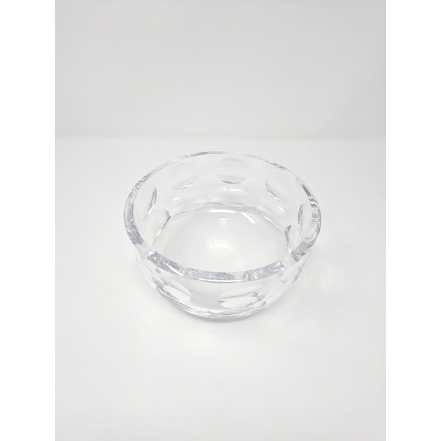 Vintage Swedish Modern crystal bowl by Orrefors. In excellent condition, with a dot pattern in the crystal.