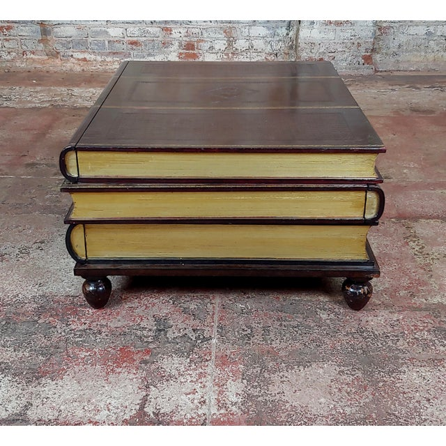 """Maitland-Smith Stacked Leather Books Form Coffee Table size 36 x 29 x 17"""" A beautiful piece that will add to your décor!"""