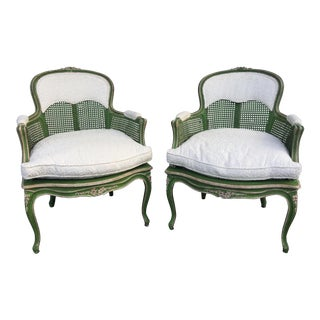 French Provincial Louis XV Style Armchairs - A Pair For Sale