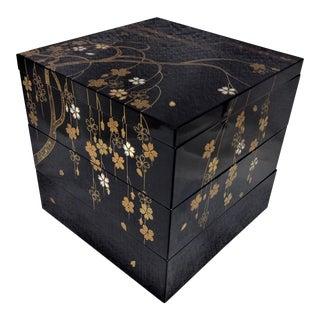 Asian Black Floral Stackable Boxes - 4 Pc. Set For Sale