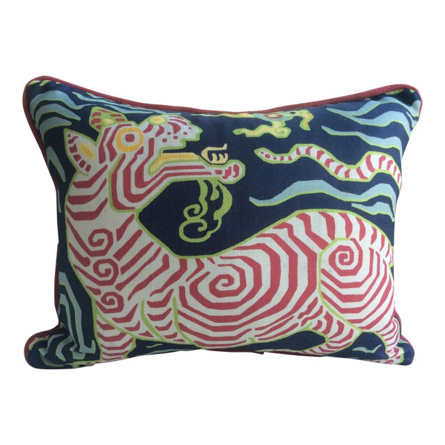 """Clarence House """"Tibet Dragon"""" Navy Linen & Down Pillow For Sale"""