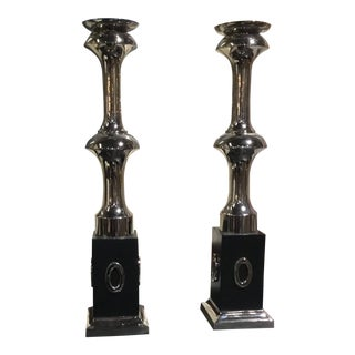 Global Views Black Square Base Candle Sticks - a Pair For Sale