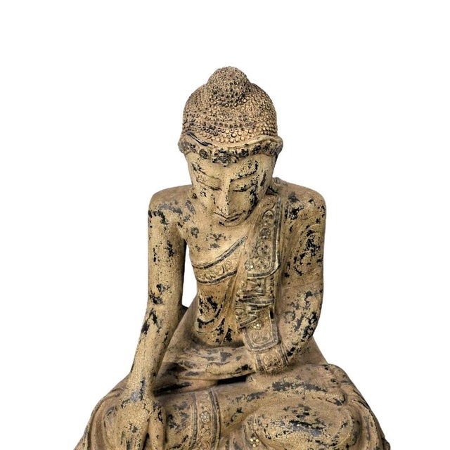 Vintage Thai Wooden Buddha In Wood For Sale - Image 4 of 5