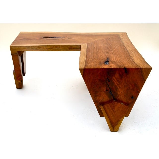 Contemporary 1980s Live Edge Waterfall Corner Table/Bench For Sale - Image 3 of 7