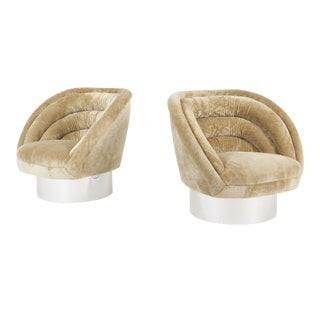 "Vladimir Kagan ""Crescent"" Swivel Lounge Chairs - a Pair For Sale"