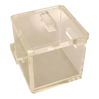 Large Lucite 1980's Acrylic Ice Bucket with Removable Liner For Sale