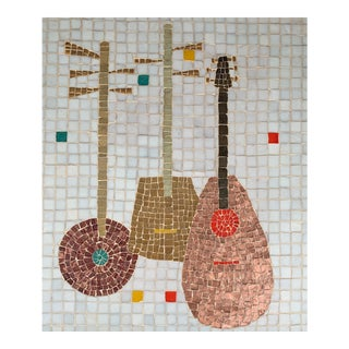 Vintage Lute Mandolin Tile Mosaic Wall Hanging For Sale