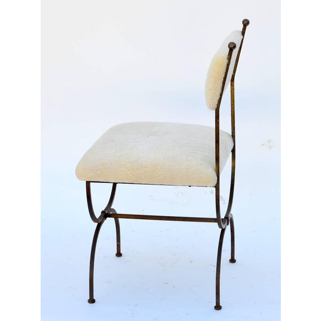 Modern Exceptional Wrought Iron and Sheepskin Side Chair by Gilbert Poillerat For Sale - Image 3 of 10