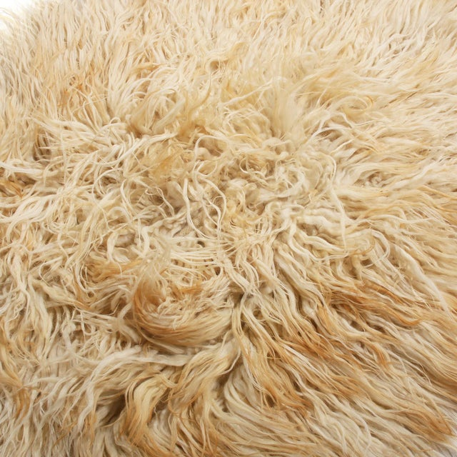 Shabby Chic Vintage Mid-Century Tulu Cream Beige-Brown Shag Wool Rug For Sale - Image 3 of 5