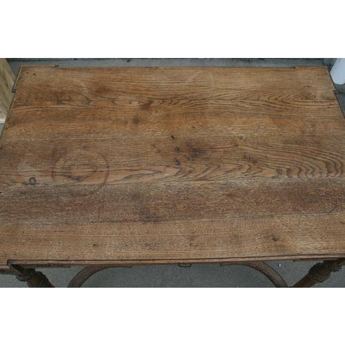 Wood 18th Century French Oak Table With Carvings and Single Drawer For Sale - Image 7 of 8